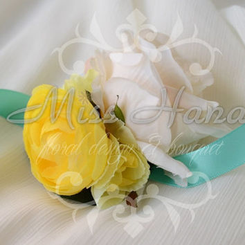 Ivory Rose tiffany blue ribbon Wrist corsage Wrapped In Satin Ribbon Silk Arrangement Rustic Chic Romantic Elegant
