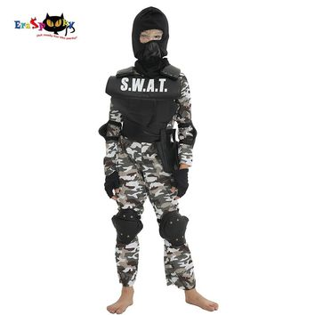 Cool Eraspooky Carnival Party Fancy Dress Child SWAT Team Halloween Costume For Kids Camouflage Arm Jumpsuit Outdoor Game CosplayAT_93_12