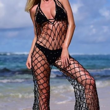 Low Tide Fishnet Cut Out Sleeveless Spaghetti Strap Backless V Neck Halter Wide Leg Loose Jumpsuit Beach Cover Up - 2 Colors Available