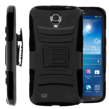 Samsung Galaxy Mega 6.3 Case, Rugged Hybrid Triple Layer Holster Shell Combo Case [Kickstand and Clip] for Galaxy Mega 6.3 - Black