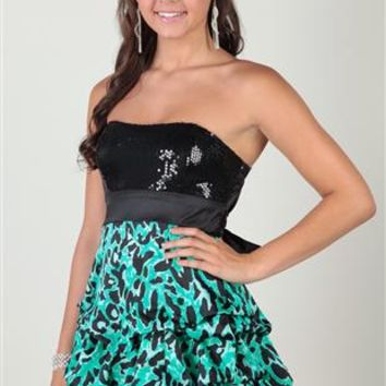 sequin cheetah print, strapless sweetheart, tie back, empire waist
