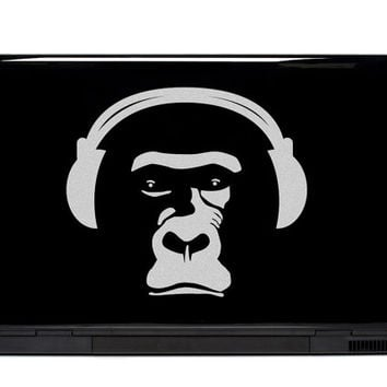 Headphones Monkey Vinyl Laptop or Automotive Art FREE SHIPPING, netbook art notebook sticker laptop primate monkey skateboard decal art