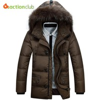 ACTIONCLUB 2017 Winter Parka men Jacket Fur Hood Plus size Winter jacket men Winter Jacket Solid Color Fashion Men's Coat