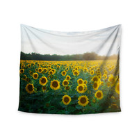 "Chelsea Victoria ""Sunflower Fields"" Floral Photography Wall Tapestry"