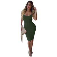 Olive Green Strappy Bodycon Dress
