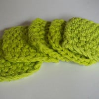 hand knit plushy cotton scrubbies in lime green