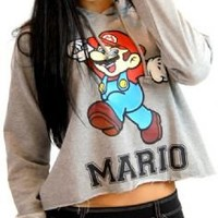 Nintendo Mario #1 Ladies Raw Edge Heather Gray Cropped Juniors Hooded Sweatshirt Hoodie - Nintendo - | TV Store Online
