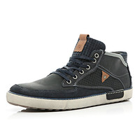 River Island MensNavy perforated panel high tops