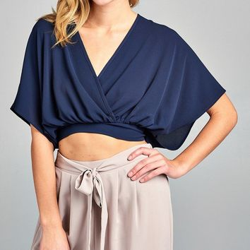 Ladies fashion front wrap back bow tie crop woven top