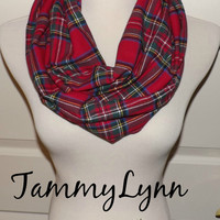 RED Flannel Stewart Plaid Check Infinity Scarf Fall Winter Christmas Women's Accessories
