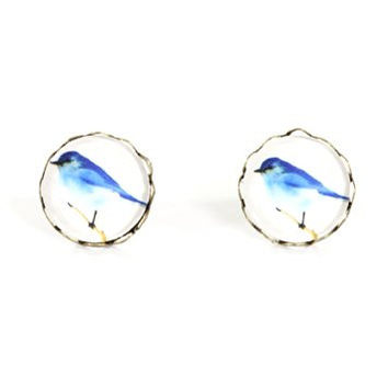 Blue Bird Stud Earrings Vintage Art Gold Tone Posts EF68 Fashion Jewelry