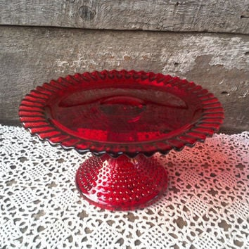 Vintage Red KnobNail Glass Cake Stand Pedestal Cake Stand Vale & Best Vintage Cake Pedestal Products on Wanelo