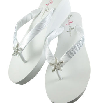 Starfish Bridal Flip Flops with Rhinestone Bling - Bride wedding wedges-white /ivory