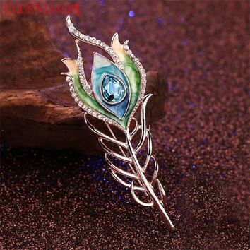 Charm Enamel Hair clip Peacock Feather Hairpin Wedding Hair Accessories Crystal Hair Sticks for Noble Women Hair Fork Jewelry