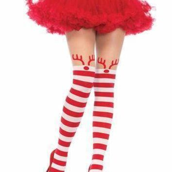 Leg Avenue Rudolph Reindeer Opaque Striped Pantyhose
