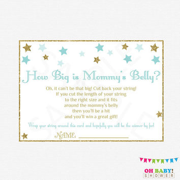 How Big is Mommy's Belly Game, Twinkle Twinkle Little Star, Blue and Gold Baby Shower Games, Stars, Glitter, Boy, Printable Download, STBG
