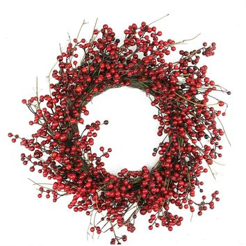 Twig and Artificial Berries 20 Inch Christmas Wreath  Crimson and Merlot Red