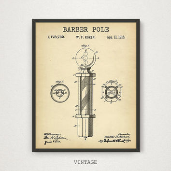 Barber Pole Patent Printable, Barber Shop Decor, Digital Download, Barber Art Print, Vintage Pole Wall Art, Barber Gifts, Barber Pole Poster