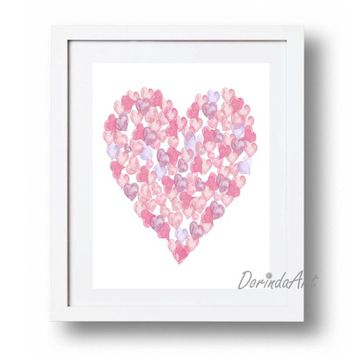 Pink and purple Nursery decor Watercolor Heart print Printable Baby girl wall decor Pink heart art Purple heart decor DOWNLOAD 11x14 16x20