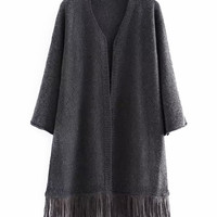 Open Front Tassel Hem Knitted Long Sleeves Cardigan