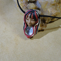 Arizona Cardinals Colors Wise spirit Goddess Looking glass Pendant Sam Art Clay Jewelry