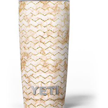The Rustic Brown and Tan Chevron Pattern Yeti Rambler Skin Kit