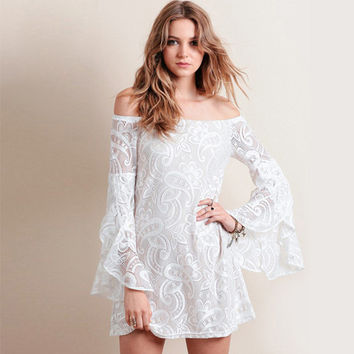 White Flounced Petal Sleeves Off-Shoulder Lace Dress
