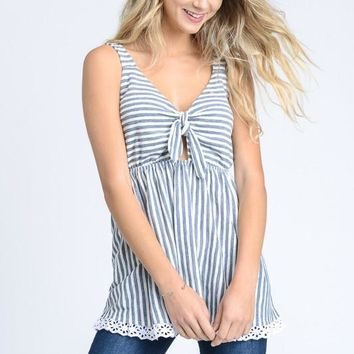 Blue Stripe Tie Bodice Lace Trim Tank