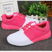 """NIKE"" Roshe Run Women Casual Sport Shoes Sneakers contrast white pink hook H-MDTY-SHINING"