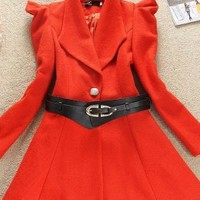 Bright Shrug Shoulder Orange Long Coats Girls : Wholesaleclothing4u.com