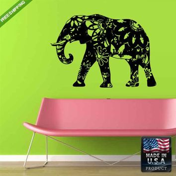 Wall Decal Decal Sticker Cute Elephant Tribal Kids Animals Bedroom  z158