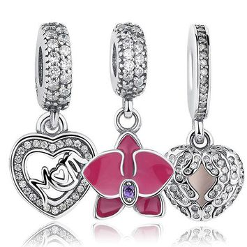 DCCKFV3 Original 925 Sterling Silver Radiant Orchid Snowflake MOM Daisy Pendant Beads Fit  Charm Bracelet Jewelry Accessories