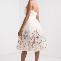 AMMO x AKIRA Sweetheart Bustline Thin Adjustable Strap Floral Embroidered Mesh Prom Dress in Ivory Multi