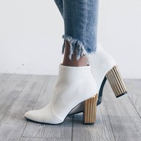 No Pressure White Bootie with Gold Heel