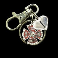 Custom Initial Firefighter Keychain
