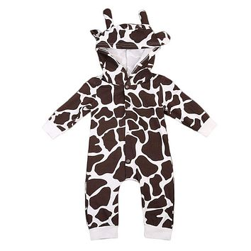 Cute Animal Cow Baby Boy Girls Warm Romper Long Sleeve Hooded 3D Toddler Kids Jumpsuit One Pieces Clothing 0-24M