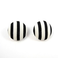 Stripes Black and White Earring Studs Geometric Free Shipping Etsy