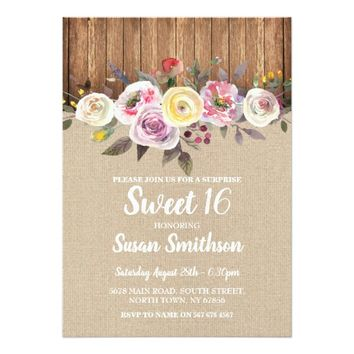 Sweet 16 Any Age Birthday Party Floral Wood Invite