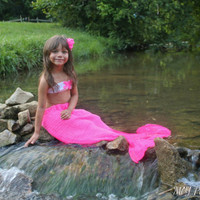 Baby/Girl Mermaid Outfit Starfish Top, Tail & Starfish Bow ANY COLOR any SIZE