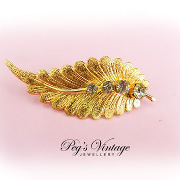 Gold Tone Leaf Brooch//Pin With Smoky Color Glass Rhinestones//Vintage 60s Jewelry