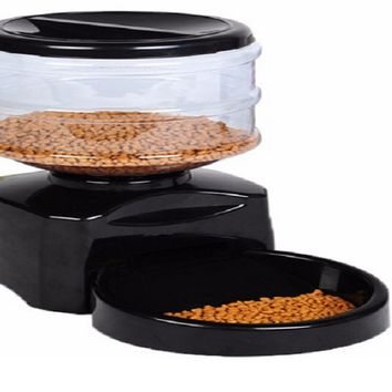Dogs Cats Food Bowl Dispenser Black