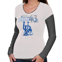 Nike Delaware Fightin' Blue Hens Ladies Sunny Day Cross Campus Double Layer Long Sleeve T-Shirt - White