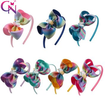 7 Pieces/lot Cute Unicorn Hairbands For Girls Kids Handmade Boutique Satin Covered Headbands With Ribbon B Hair Accessories