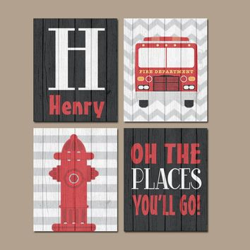 FIRE TRUCK Wall Art, Fire Truck Decor, CANVAS or Prints, Fireman Fire Truck Birthday, Big Boy Bedroom, Oh The Places You'll Go, Set of 4