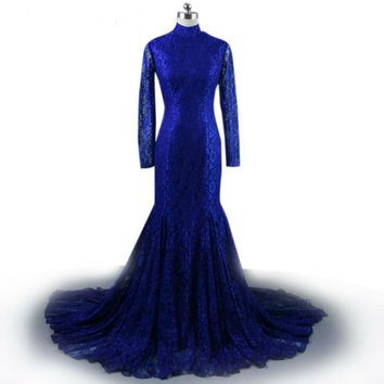 Long Sleeve Lace navy blue Mermaid Dresses Floor Length high neck Evening Gowns