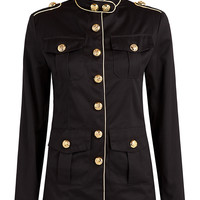 Women's Black Military Gold Piping Jacket With Gold Buttons
