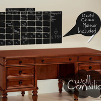 "Wall Calendar Decal - Chalk Pen Wall Decal - Chalkboard Decal, Size - 23"" x 39"", FREE Liquid Chalk Marker Included."
