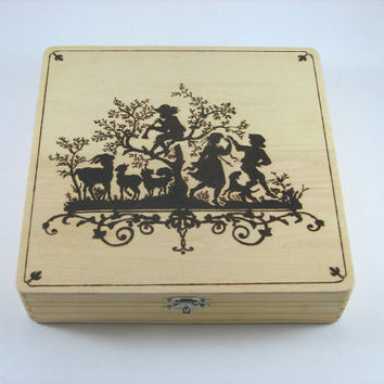 Jewelry Box - Wood Pyrography - Children silhouette trinket box treasure box