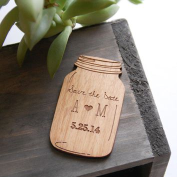 Mason Jar Alder Wood Save The Date Magnet   Laser Cut Intricate Design   Set Of 100