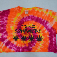 Tie Dye Shirt pot leaf crop top Soft Grunge Hippie Large Womens Tie Dye Clothing Handmade Tie Dye Orange Yellow Girly Stoner Pot Leaf Herb